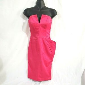 bebe Hot Pink Strapless Cocktail Dress Size 2